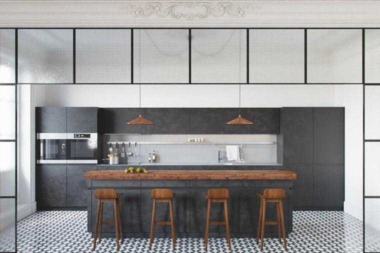 cocina isla suelo mosaico diseno atractivo ideas