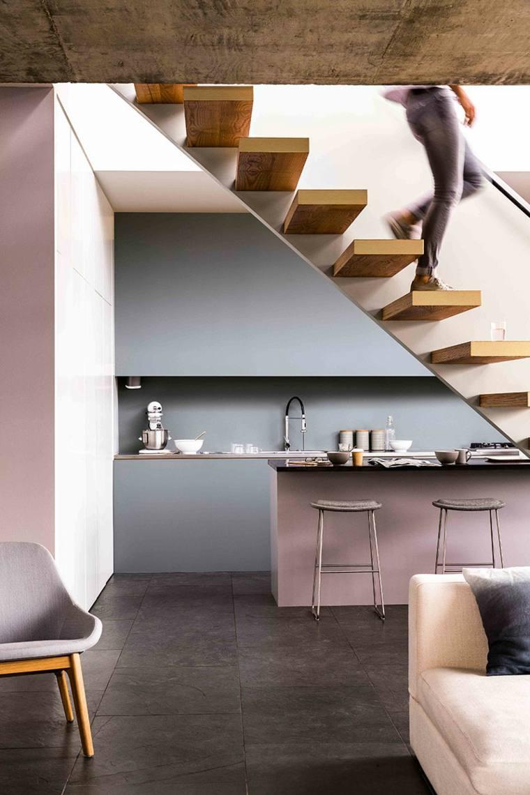 cocina moderna color rosa gris