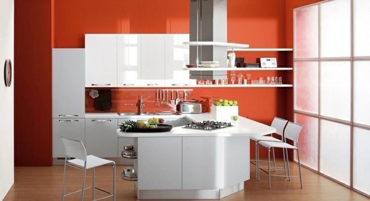 cocinas colores acento paredes diseños