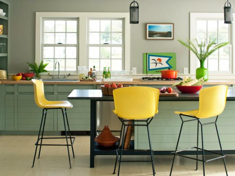 cocinas colores taburetes especiale amarillos