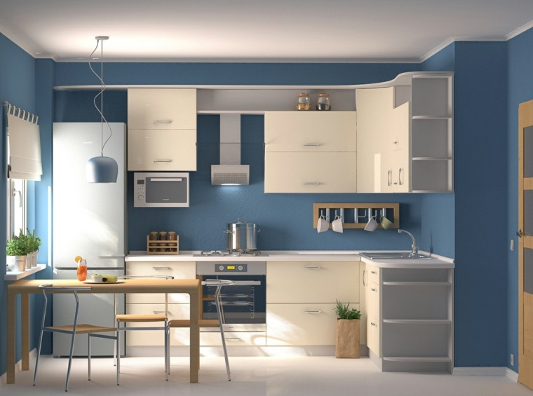 cocinas con barra color azul blanco
