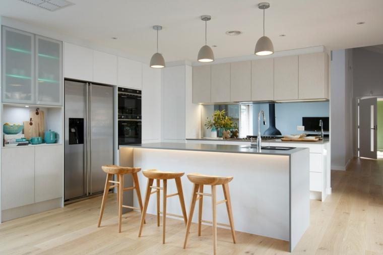 cocinas diseños luces pendientes hormigón