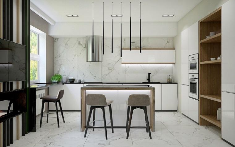 cocinas diseños paredes marmol paredes