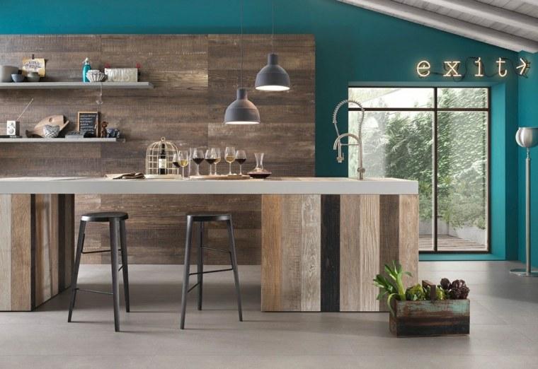 cocinas diseños ramas madera metales