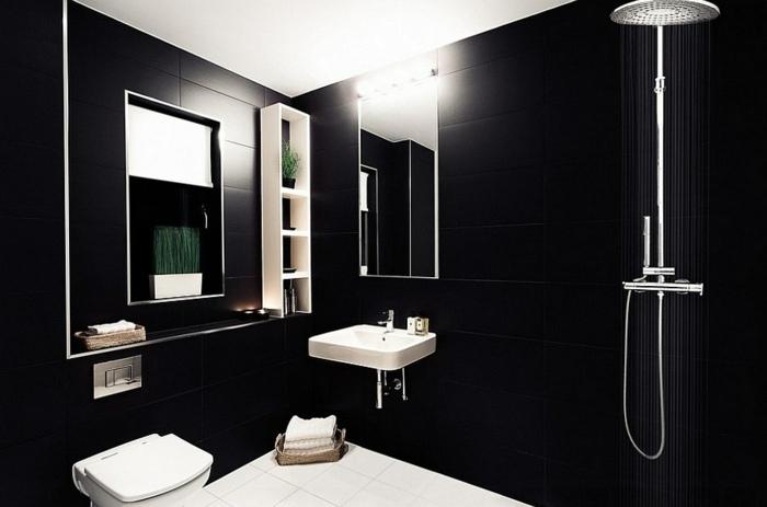 Color negro dise o elegante para ba os modernos y for Banos en blanco y negro