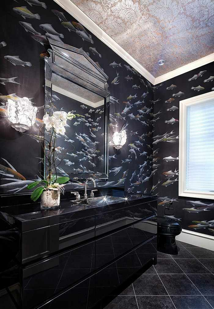 color negro diseño texturas paredes peces