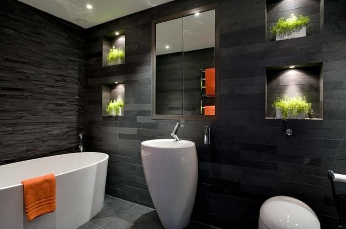 color negro diseño toallas muebles naranja