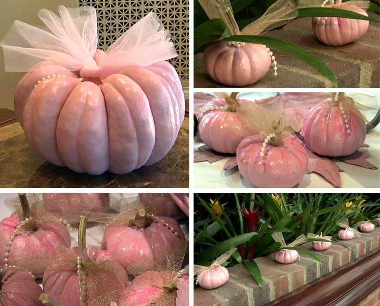 cómo decorar una calabaza rosa