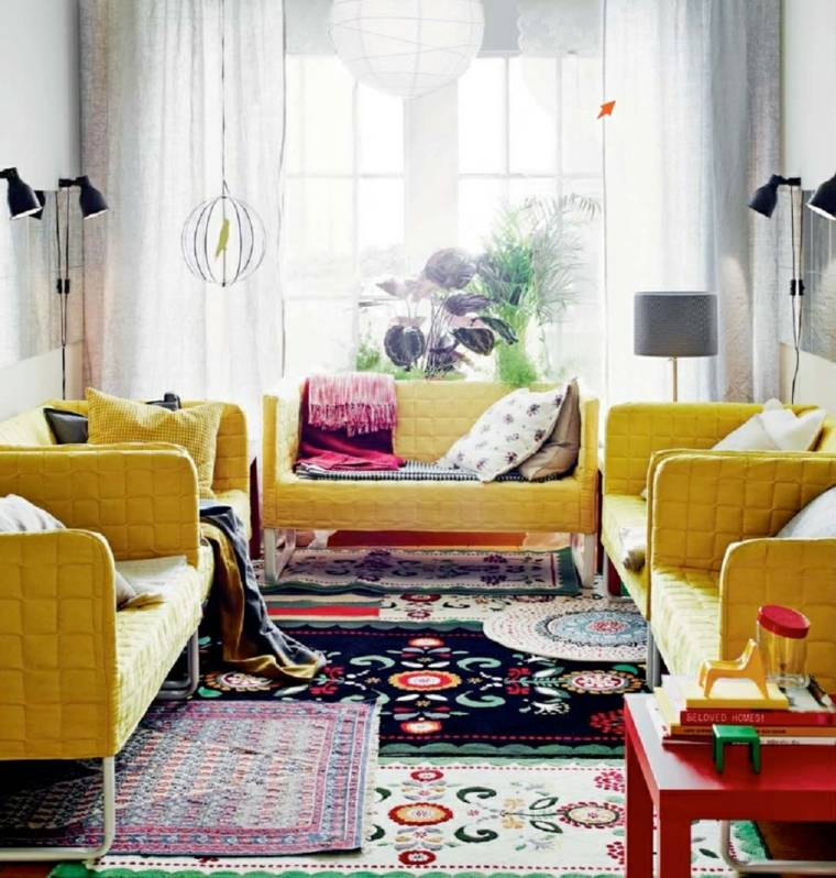 conjunto sofas color amarillo