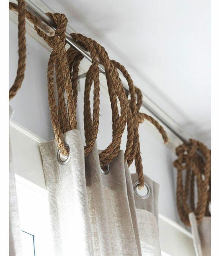 cortinas colgadas cuerdas gruesas