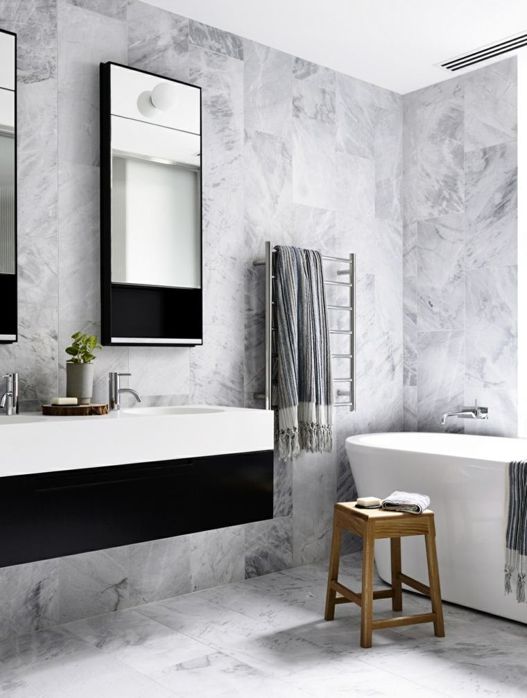 Ba os originales en negro y en gris for Utensilios cuarto de bano