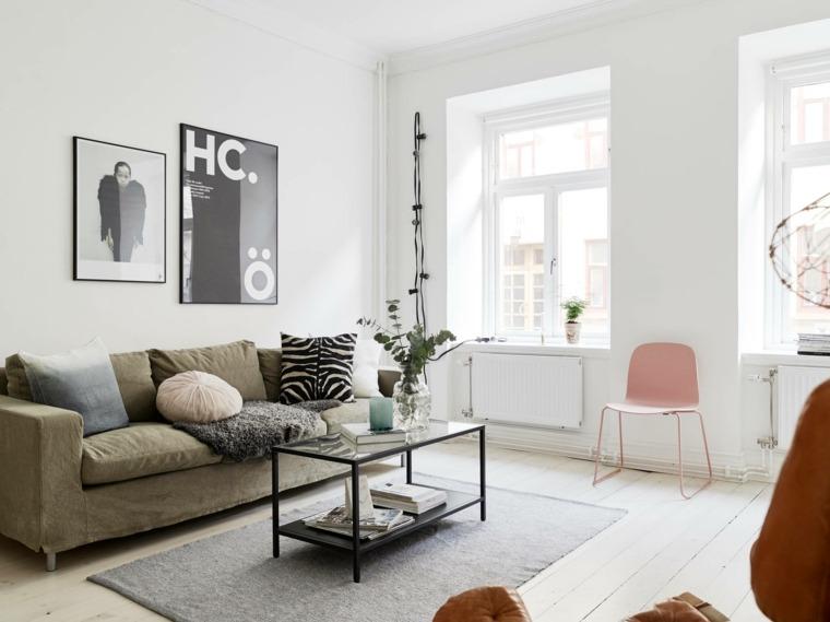decoración de sala silla rosa