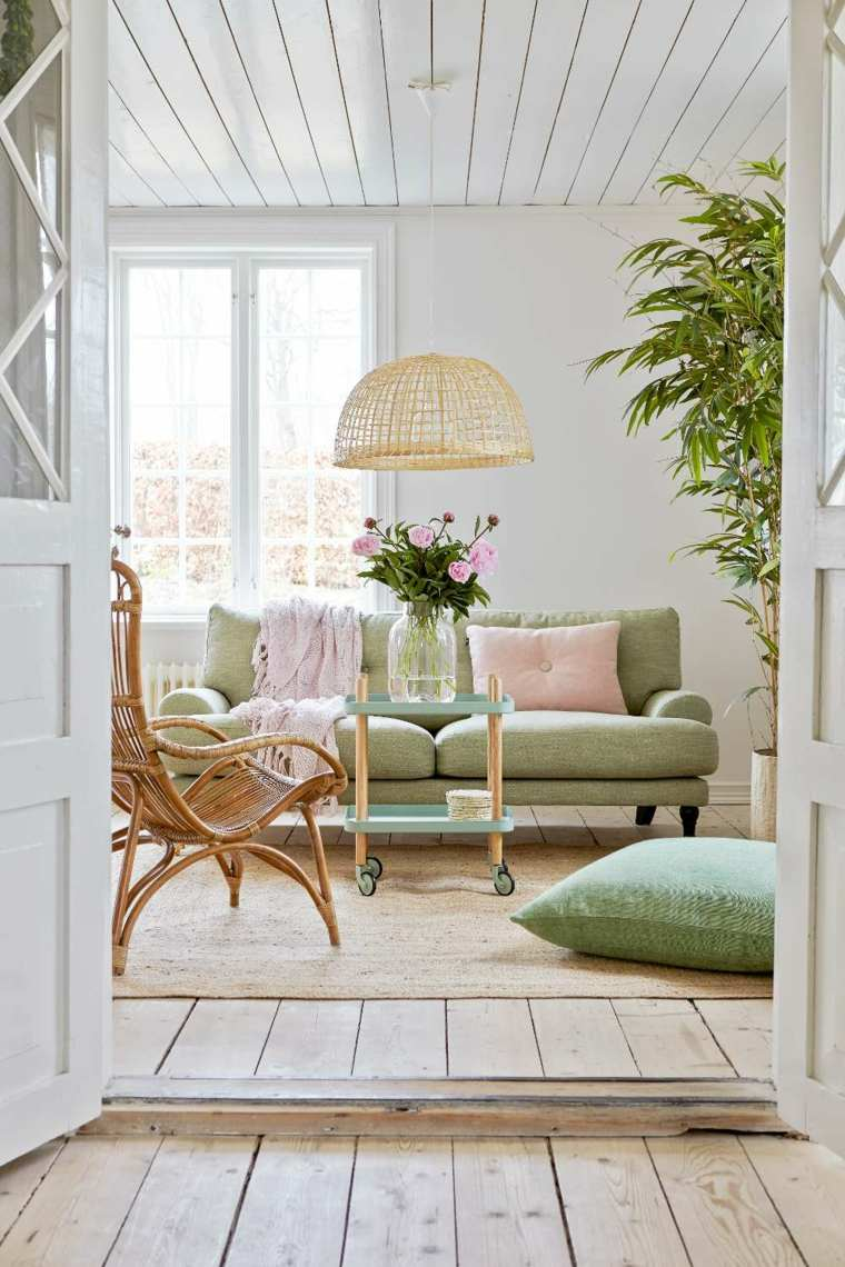 decoracion salon verde rosa