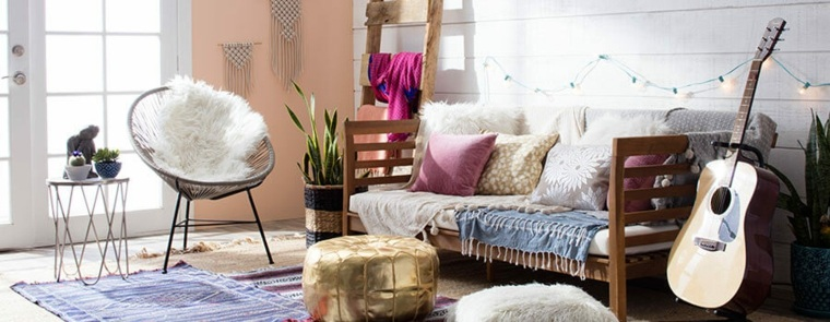 decoración salon estilo boho