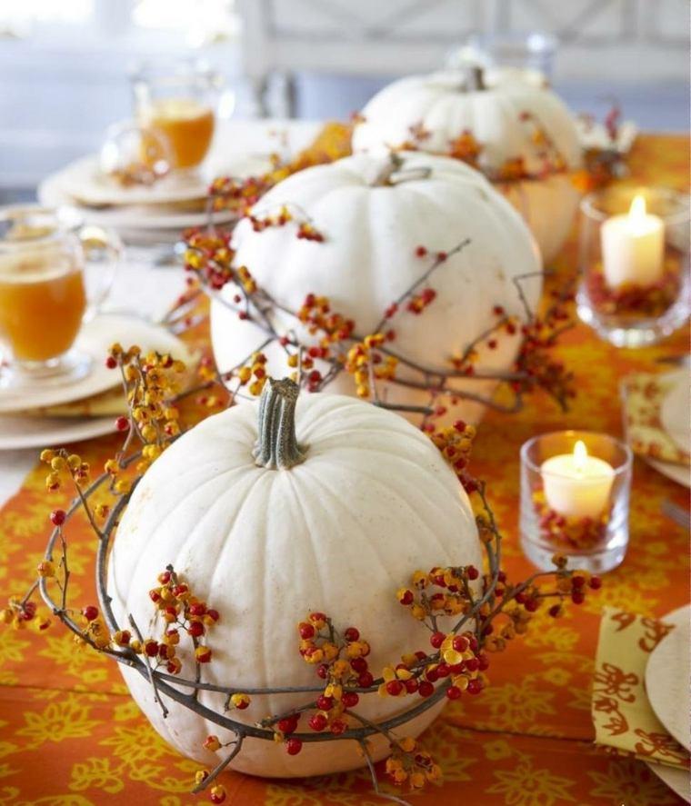 decoración con calabazas mesa