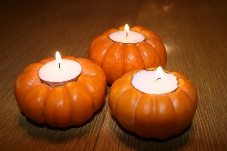 decoración con calabazas velas
