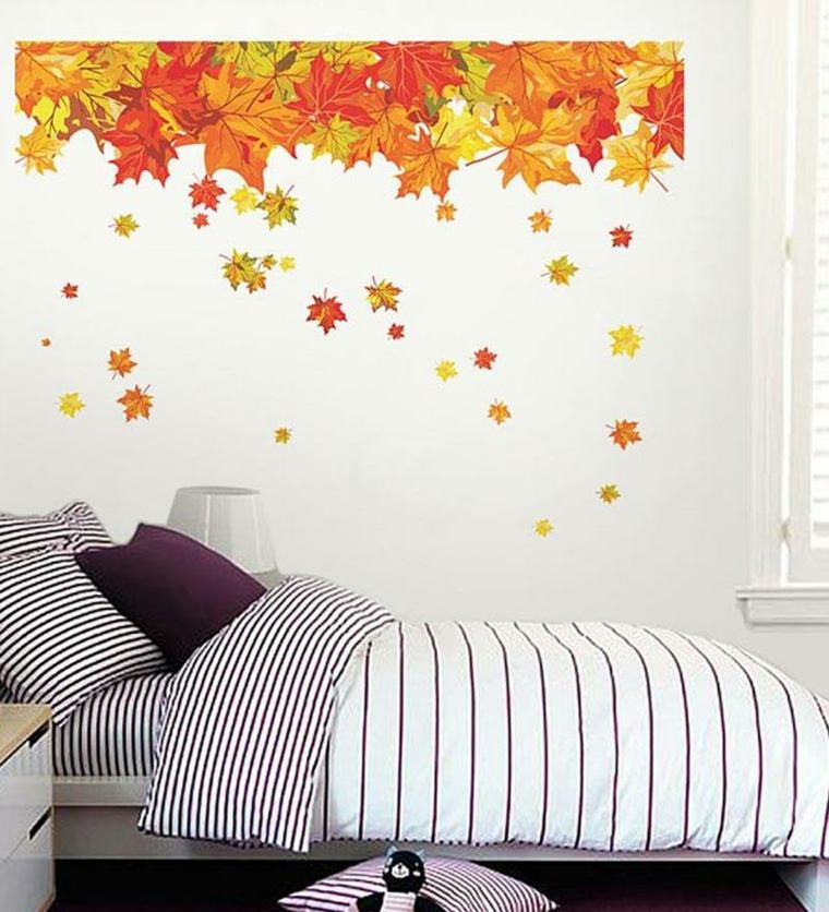 decoración con hojas secas dormitorio