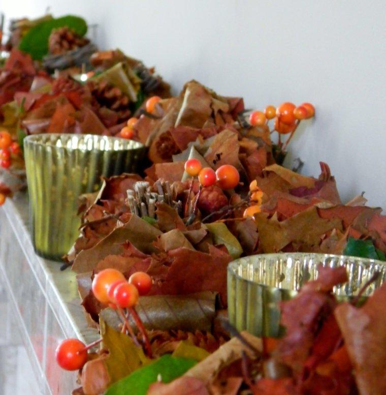 decoración con hojas secas interior