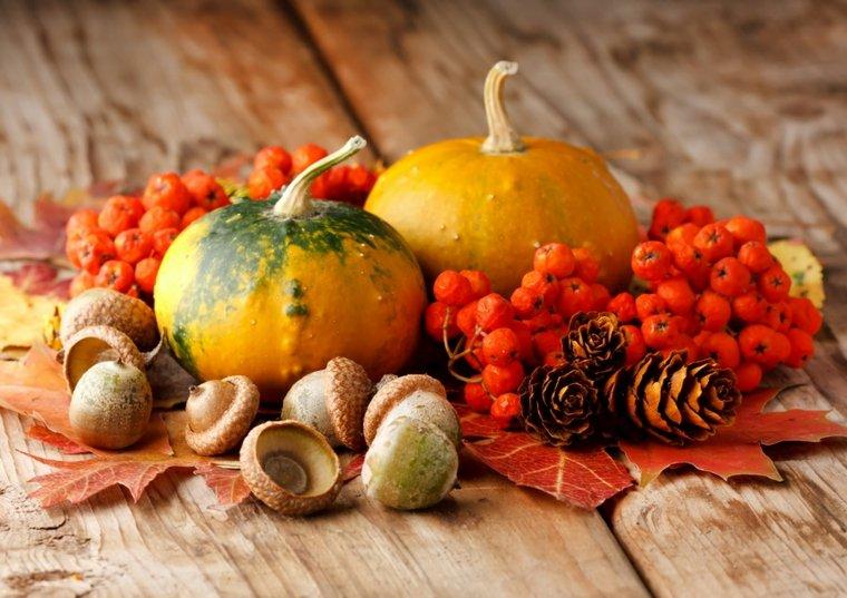 decoración con hojas secas otoño