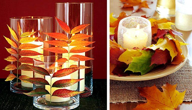 decoración con hojas secas para velas