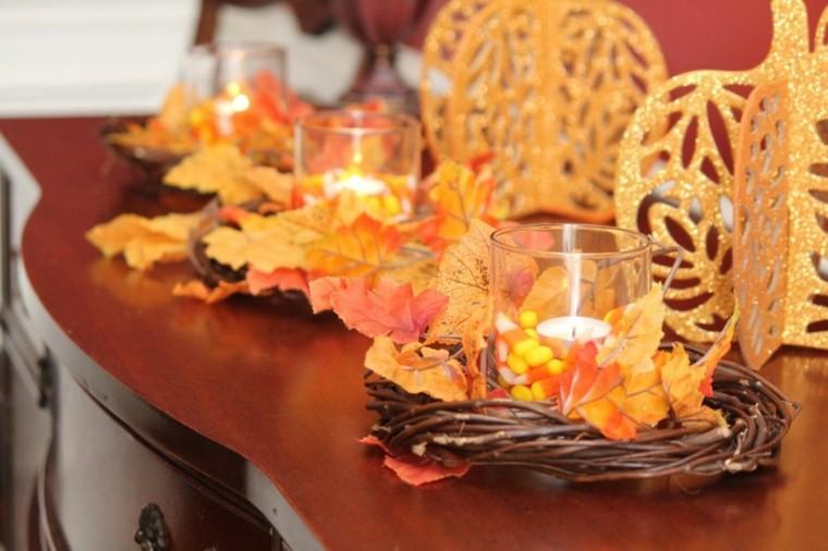 decoración con hojas secas salón
