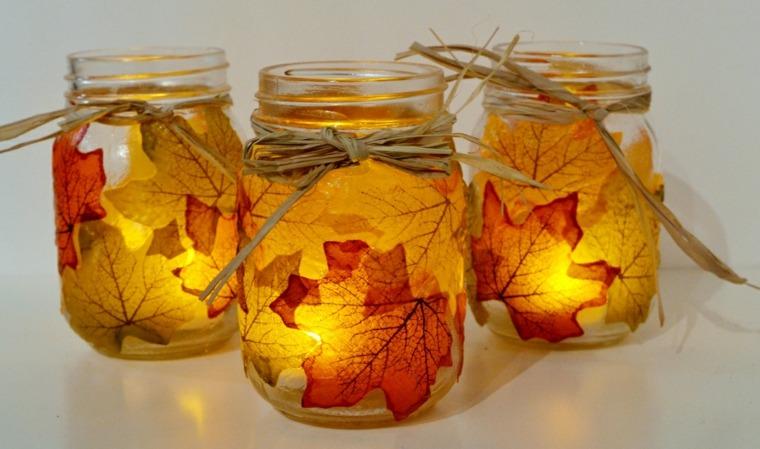 Decoraci n con hojas secas para el oto o for Decoracion del hogar con velas
