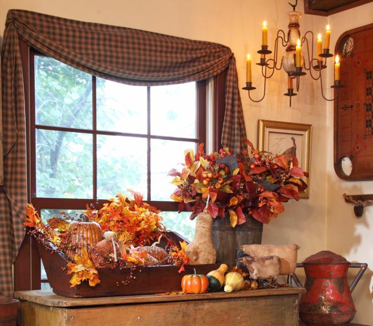 decoración con hojas secas ventana