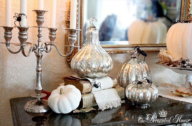 decoración de calabazas blancas
