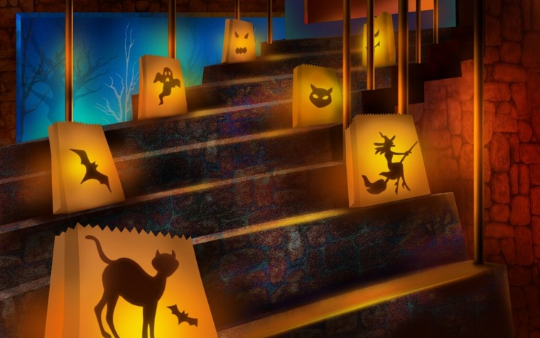 decoración de halloween escaleras