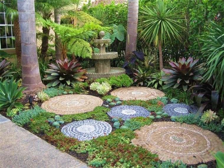 decoración de jardín círculos cemento