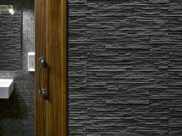 decoracion de paredes 3D bano losas negras ideas