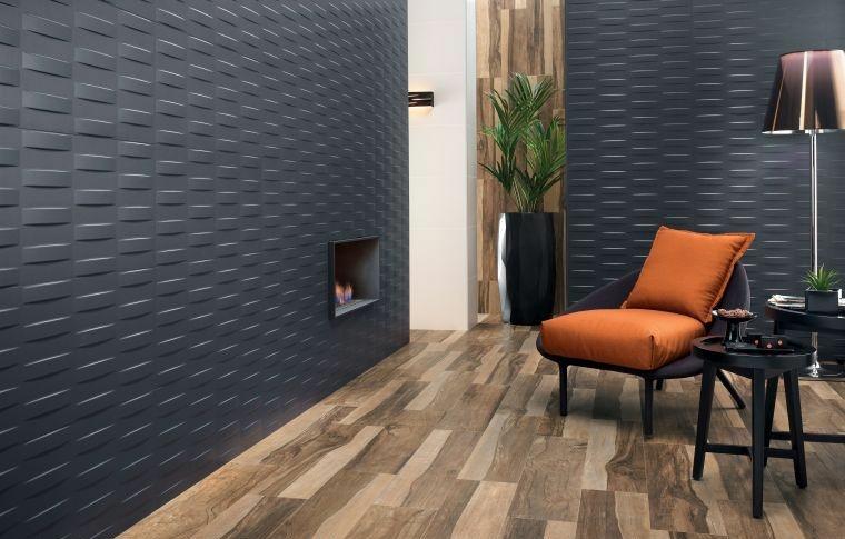 decoracion de paredes 3D color negro diseno espectacular ideas
