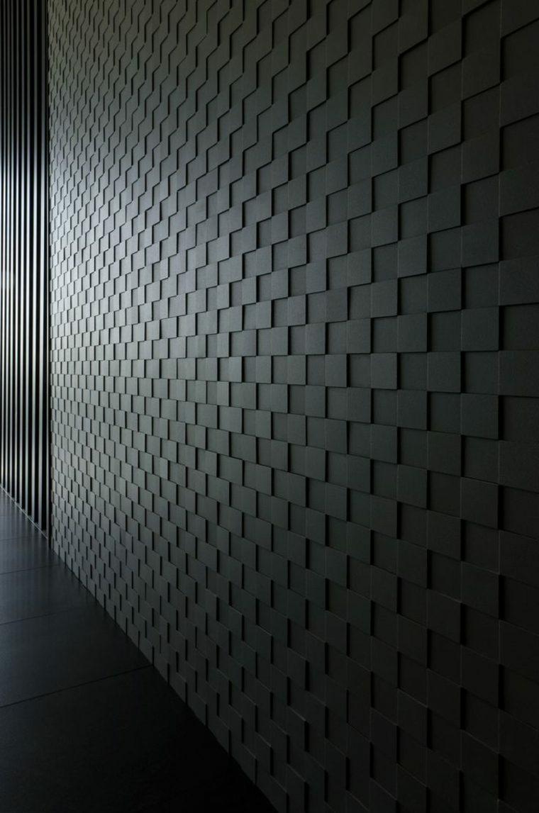 decoracion de paredes 3D color negro geometrico ideas