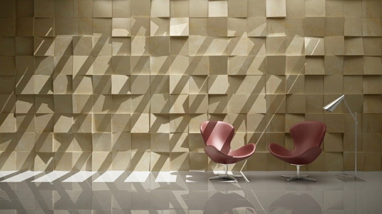 decoracion de paredes 3D cubos madera imitacion ideas