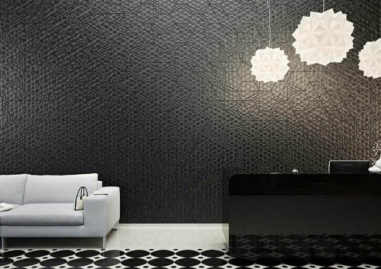 decoracion de paredes 3D negro kaza ideas