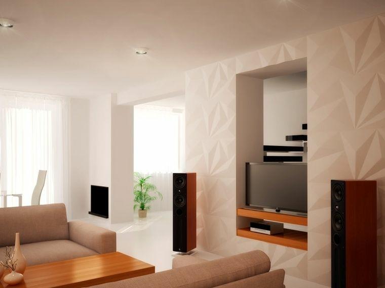 decoracion de paredes 3D paneles blancos opciones ideas