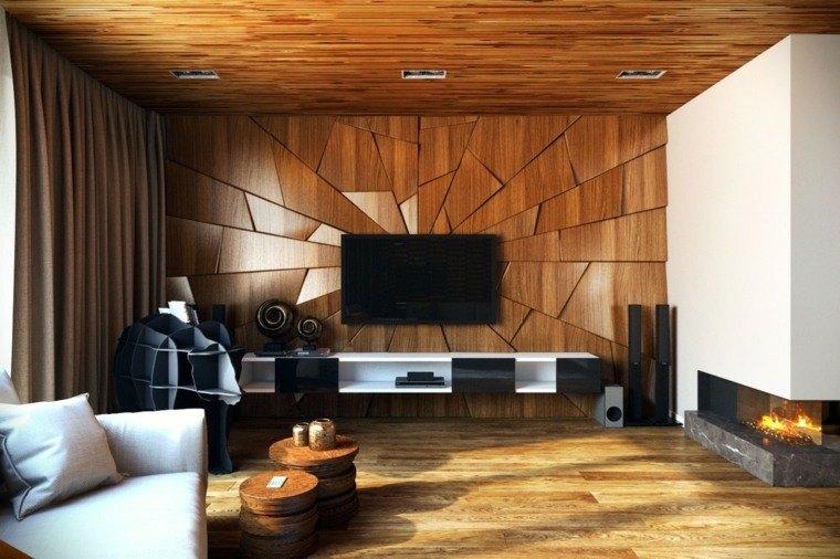 Decoraci n de paredes ideas de paneles y losas 3d - Paredes interiores de madera ...