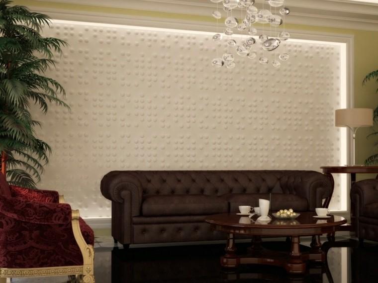 decoracion de paredes 3D puntos pared color blanco diseno ideas