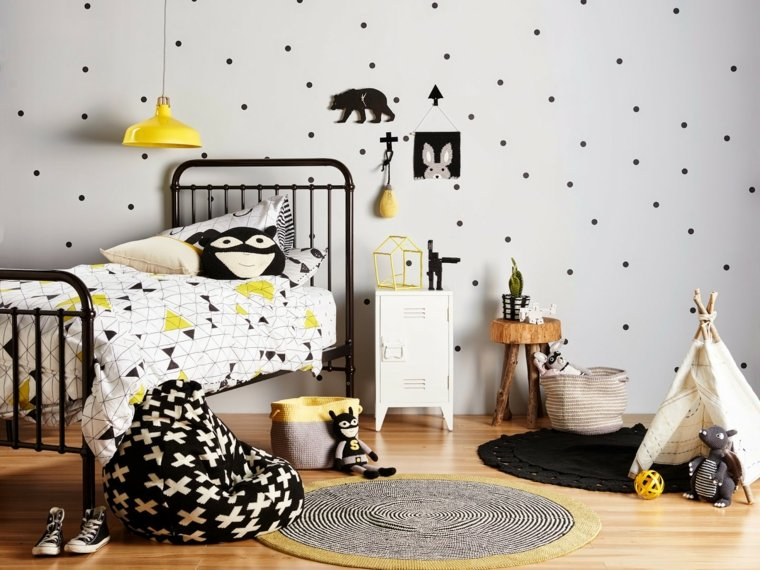 decoracion estilo boho negro amarillo