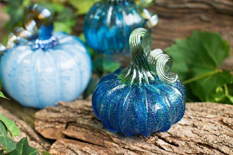decorar calabazas azules