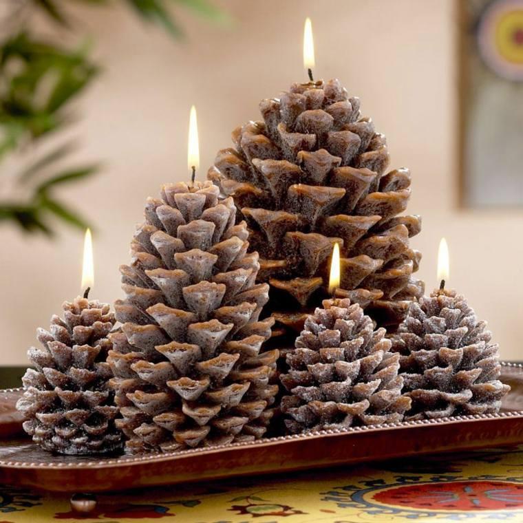 decorar con piñas forma velas