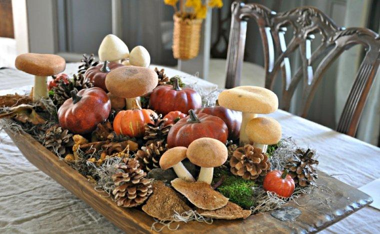 decorar con piñas mesa otoñal