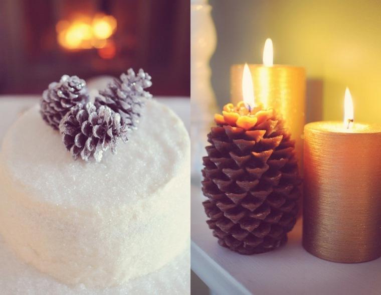 decorar con piñas velas