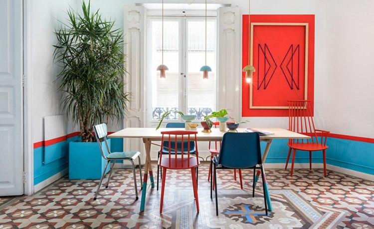 decorar paredes ideas salones estantes color