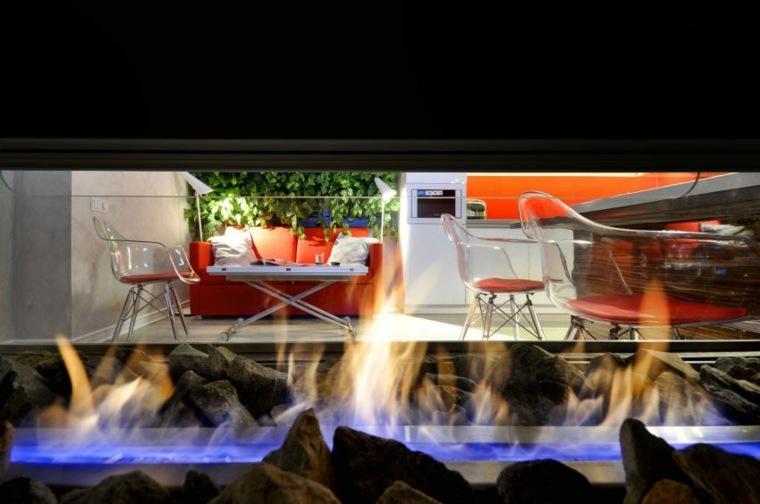 diseño salón chimenea interior moderna