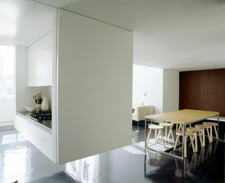 diseño comedor cocina flotante moderna