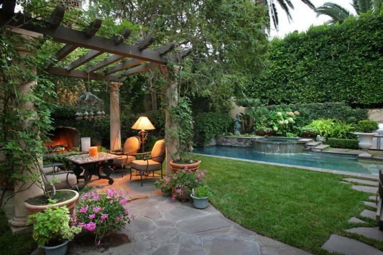 diseño de jardines ideas rocas cesped calido