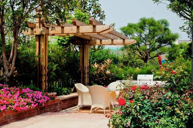 diseño de jardines ideas sombra pergola rosa