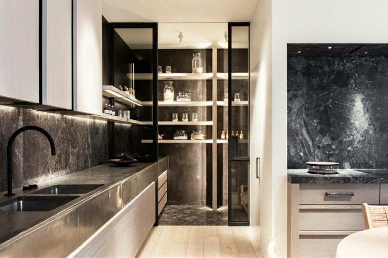 diseño interior cocina moderna oscura