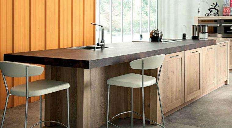 diseño mesa isla encimera madera